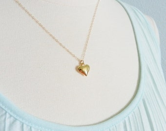 Gold heart necklace, heart of gold, tiny pretty jewelry SALE