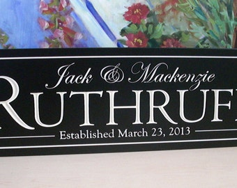 Personalized last name Sign Family Name Sign Plaque Established Carved Engraved 8x24