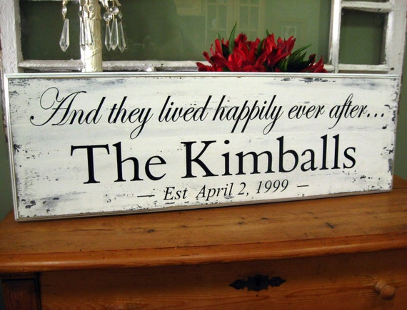 And They Lived Happily ever After  SHABBY CARVED  Personalized Family Name Signs..9 x 30
