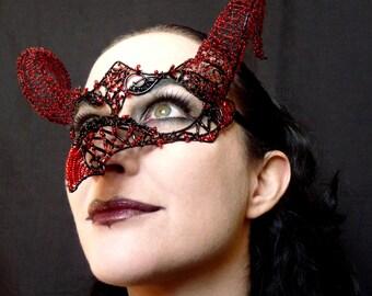 Firedrake masquerade mask, Masked ball mask, Masquerade ball mask, Dragon mask, Halloween mask, Scary mask, Womens mask, Horned mask, black