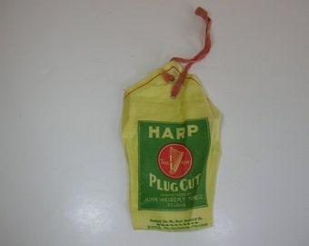 Vintage Linen Tobacco Pouch Unused