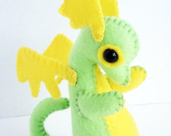 Baby Dragon felt plush stuffed animal- Lime green with yellow