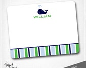 WILLIAM - custom flat notecard set / WHALE NAUTICAL  / 10 notecards & 10 envelopes