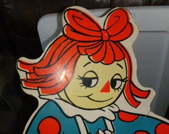 Vintage Raggedy Ann Advertising Display Board Huge Wall Hanging 1978 Collectible