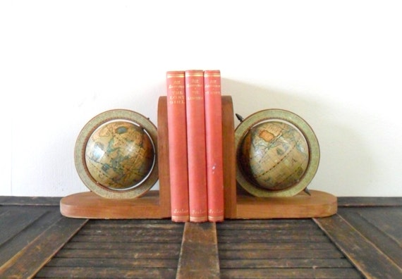 vintage old world globe bookends - study - map - cartography - wood