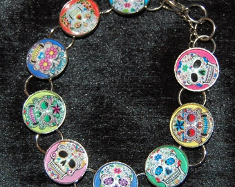 Day of the Dead Sugar Skull Bracelet Colorful Background