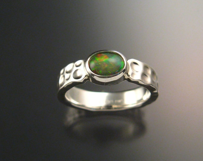 Opal Ring Sterling Silver Bezel set Moonscape Crystal Opal Ring Made to order in your size