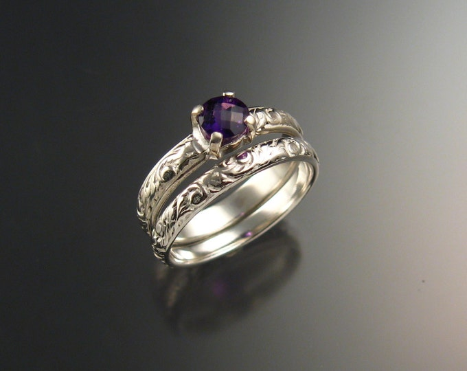Amethyst Wedding ring set 14k White Gold Victorian floral pattern two ring set made to order in your size