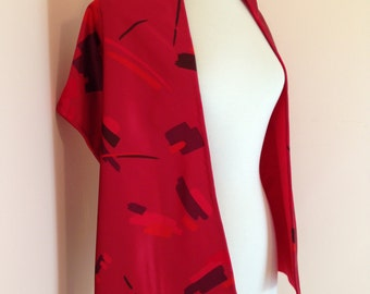 Rich Red Pink Vintage Shawl / High Fashion One Of A Kind / Abstract Pattern Detailing