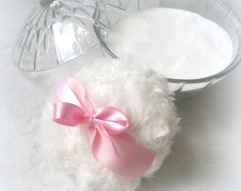 Powder Puff - pink and white powderpuff -  soft bath pouf - gift box option - by BonnyBubbles