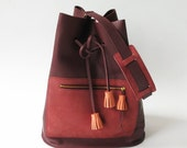 Leather bucket bag in Burgundy red, tassels, leather bag, tote bag, shoulder bag, suede