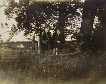 Vintage Black & White Photo - Children in the Countryside