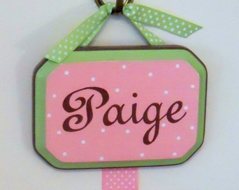 Hair Bow Holder Hand Painted Personalized Pink and Brown