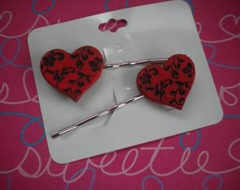 Heart bobby pins - Valentine's Day hair pins - Valentine bobby pin set - Heart hair pins set