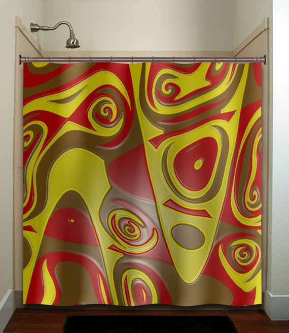 Items similar to red brown yellow abstract shower curtain for Red and brown bathroom decor