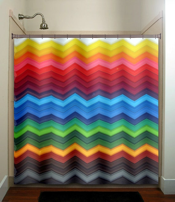 Rainbow Chevron Shower Curtain Bathroom Decor Fabric Kids Bath