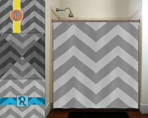 Personalized name zigzag gray chevron shower curtain bathroom for Zig zag bathroom decor