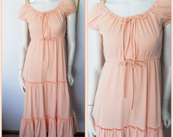 Vtg.70s Apricot Sorbet Peasant Gypsy Maxi Dress.S.Bust 34-36.Waist 22-32.Hips 46.