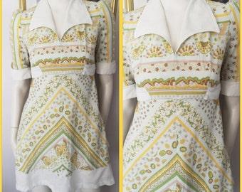 Vtg.60/70s Chevron Stripes Fan Floral Print Cotton Collared Mod Waitress Style Mini Dress.S.Bust 34.Waist 28.