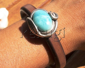 women 10mm licorice brown leather bracelet with sterling silver plated floral beads and turquoise spacer