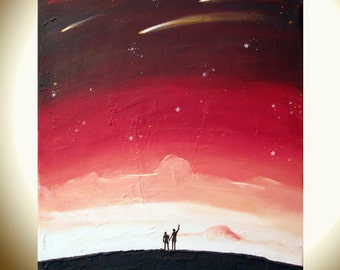 """landscape painting print whimsical art """"Star Gazing 2"""" starry night huge wall art whimsical painting gallery wall sculpture hanging a3 a4"""