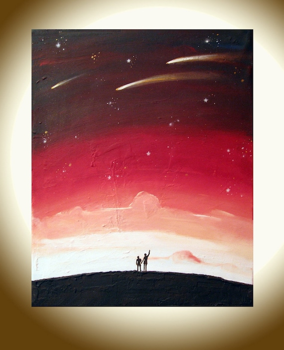 "landscape painting print whimsical art ""Star Gazing 2"" starry night huge wall art whimsical painting gallery wall sculpture hanging a3 a4"