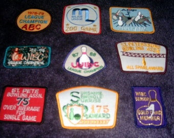 Vintage BOWLING Patches Lot Fantastic Retro Graphics
