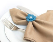 Blue leather flower napkin rings Party table decor - set of 4