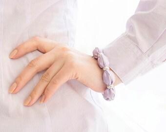 Lavender fabric bead bracelet