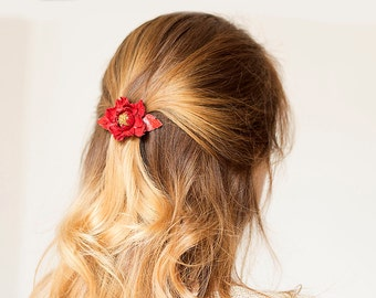 Red leather flower small french barrette hair clip Christmas gift