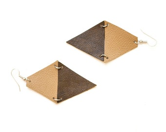 Olive green Geometric Triangle Leather Earrings