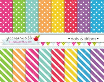 Dots and Stripes Cute Digital Papers Backgrounds for Commercial and Personal Use, Polka Dot Diagonal Stripe Patterns