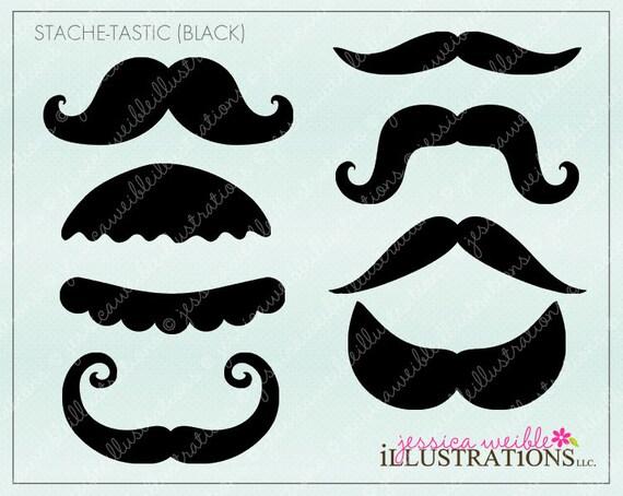 Fu Manchu Mustache Clip Art Favors, moustache clipart