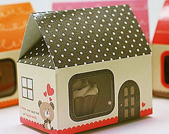 5 Mini House Paper Gift Boxs - Brown (2.5 x 1.6 x 2.5in)
