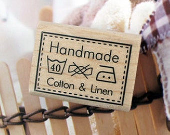 Handmade Cotton & Linen Label Stamp (1.6 x 1.2in)