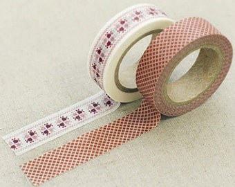 2 Set - Martha Red Patchwork Adhesive Masking Tapes (0.6in)