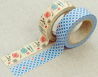 2 Set - Lucy Blue Diamond Vegetable Adhesive Masking Tapes (0.6in)
