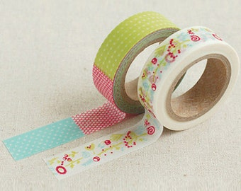 2 Set - Fantasy Colorful Flower Adhesive Masking Tapes (0.6in)