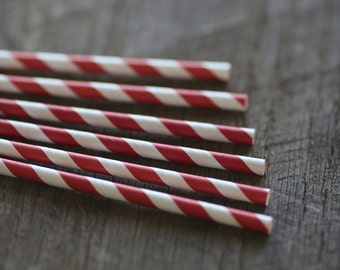 Cherry Red- Paper Straws- Set of 12