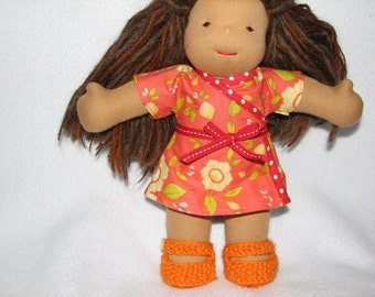 Doll Shoes for 10 inch Doll Knit in Orange Sherbet wool - RTG - ready to go