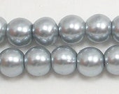 8mm Silver Glass Pearls - 15.5 inch strand of 8mm glass pearls