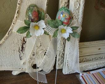 Easter Egg picks Vintage style Easter bunnies Cottage Chic Easter gift basket filler eggs decor table decorations