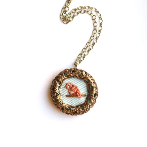 Meadowlark Necklace: Items Similar To Ode To A Meadowlark- Hand Embroidered