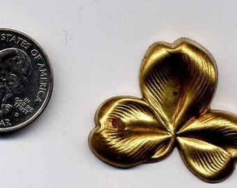 6 Large Shamrock Brass Metal Stampings