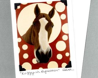 Funny Horse Card - Chestnut Quarter Horse on Polka Dots  - Horse Art Print Postcard - 10% Benefits Horse Rescue