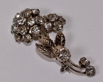 Rhinestone Flower Brooch Vintage Rhinestone and Silver Flower Pin