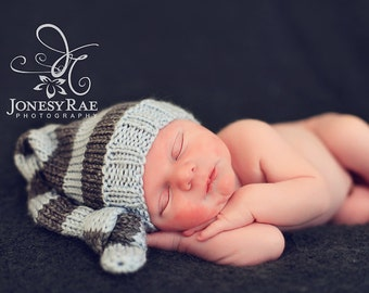 Knit Baby Hat, Knitted Newborn Infant Photo Prop, Striped Knot Beanie, Twin Set, Custom Design Your Own Colors, All Sizes