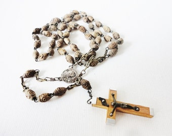 Wood rosary  necklace vintage crucifix made in Jerusalem beautiful ornate  beads