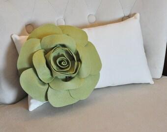 Natural Lumbar Pillow Sage Green Rose on Cream Lumbar Pillow 9 x 16