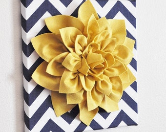 "Wall Flower -Mellow Yellow Dahlia on Navy and White Chevron 12 x12"" Canvas Wall Art- 3D Felt Flower"